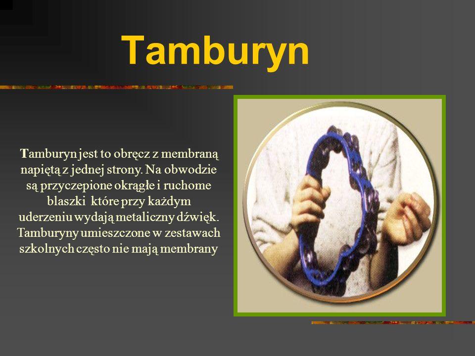 Tamburyn Tamburyn jest to obręcz z membraną napiętą z jednej strony.