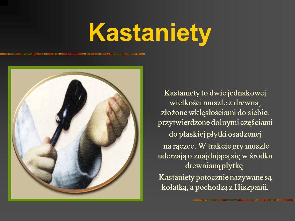 Kastaniety Kastaniety to dwie jednakowej wielkości muszle z drewna, złożone wklęsłościami do siebie, przytwierdzone dolnymi częściami do płaskiej płytki osadzonej na rączce.