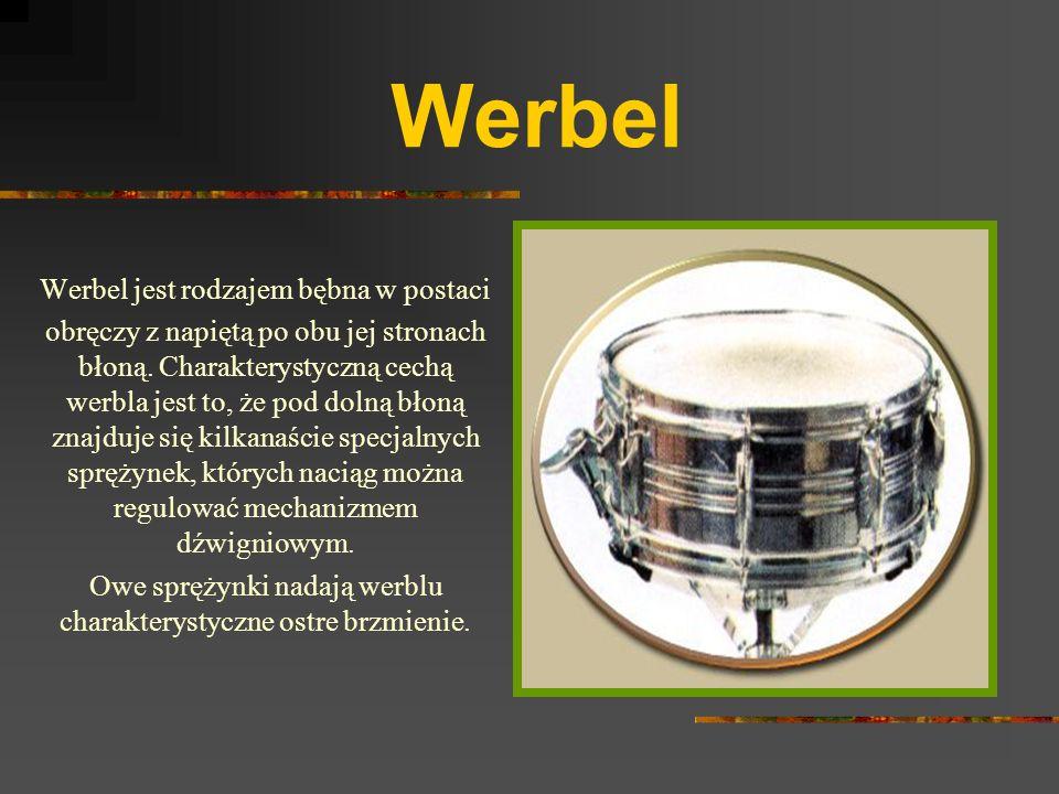 Werbel Werbel jest rodzajem bębna w postaci obręczy z napiętą po obu jej stronach błoną.