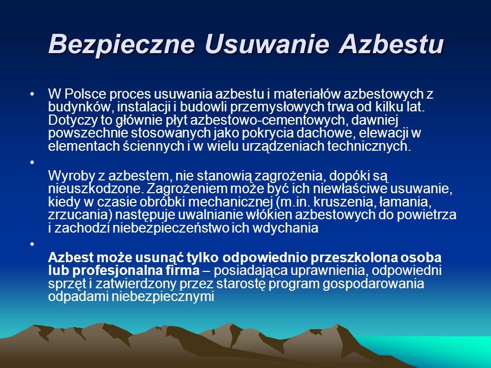 Bezpieczne Usuwanie Azbestu W Polsce proces usuwania azbestu i materiałów azbestowych z budynków, instalacji i budowli przemysłowych trwa od kilku lat.