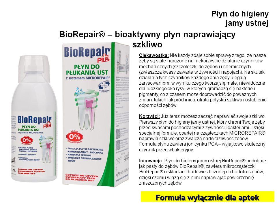 Płyn do higieny jamy ustnej BioRepair® – bioaktywny płyn naprawiający szkliwo Ciekawostka: Nie każdy zdaje sobie sprawę z tego, że nasze zęby są stale