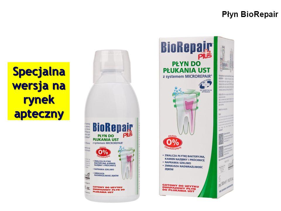 BioRepair® Opakowanie apteczne Jedyny płyn naprawiający szkliwo zębowe o tak skutecznym działaniu antyseptycznym oraz zwalczającym nadwrażliwość zębów.
