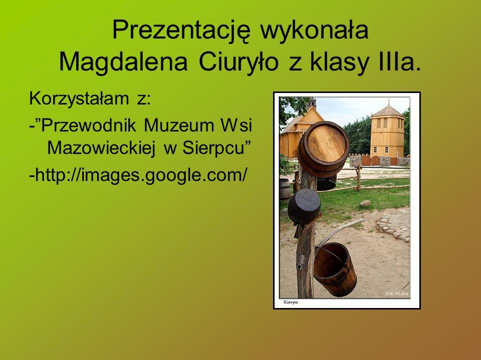 Prezentację wykonała Magdalena Ciuryło z klasy IIIa. Korzystałam z: -Przewodnik Muzeum Wsi Mazowieckiej w Sierpcu -http://images.google.com/