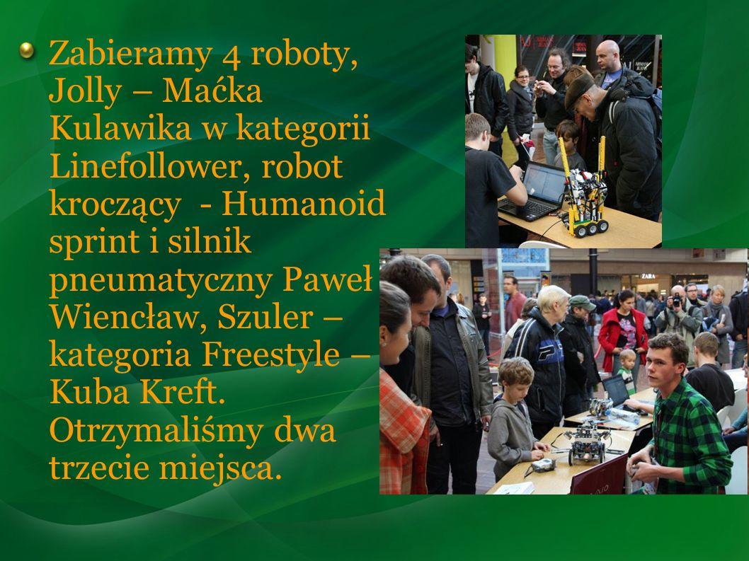 Zabieramy 4 roboty, Jolly – Maćka Kulawika w kategorii Linefollower, robot kroczący - Humanoid sprint i silnik pneumatyczny Paweł Wiencław, Szuler – k