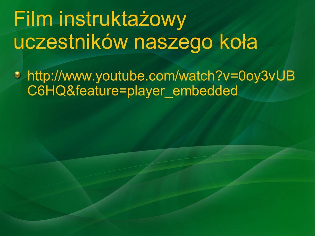 Film instruktażowy uczestników naszego koła http://www.youtube.com/watch?v=0oy3vUB C6HQ&feature=player_embedded