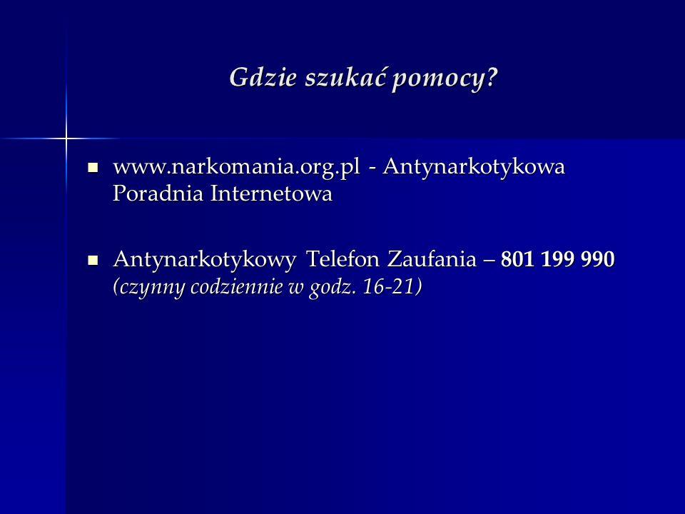 Gdzie szukać pomocy? www.narkomania.org.pl - Antynarkotykowa Poradnia Internetowa www.narkomania.org.pl - Antynarkotykowa Poradnia Internetowa Antynar
