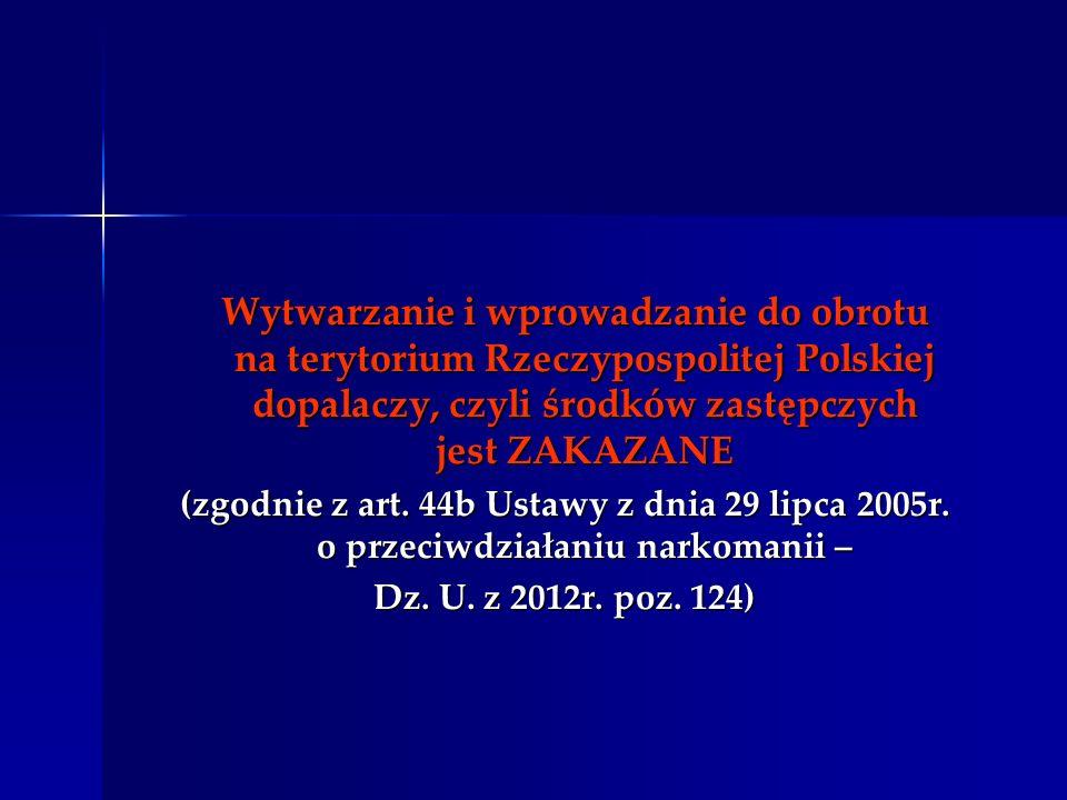Wytwarzanie i wprowadzanie do obrotu na terytorium Rzeczypospolitej Polskiej dopalaczy, czyli środków zastępczych jest ZAKAZANE Wytwarzanie i wprowadz
