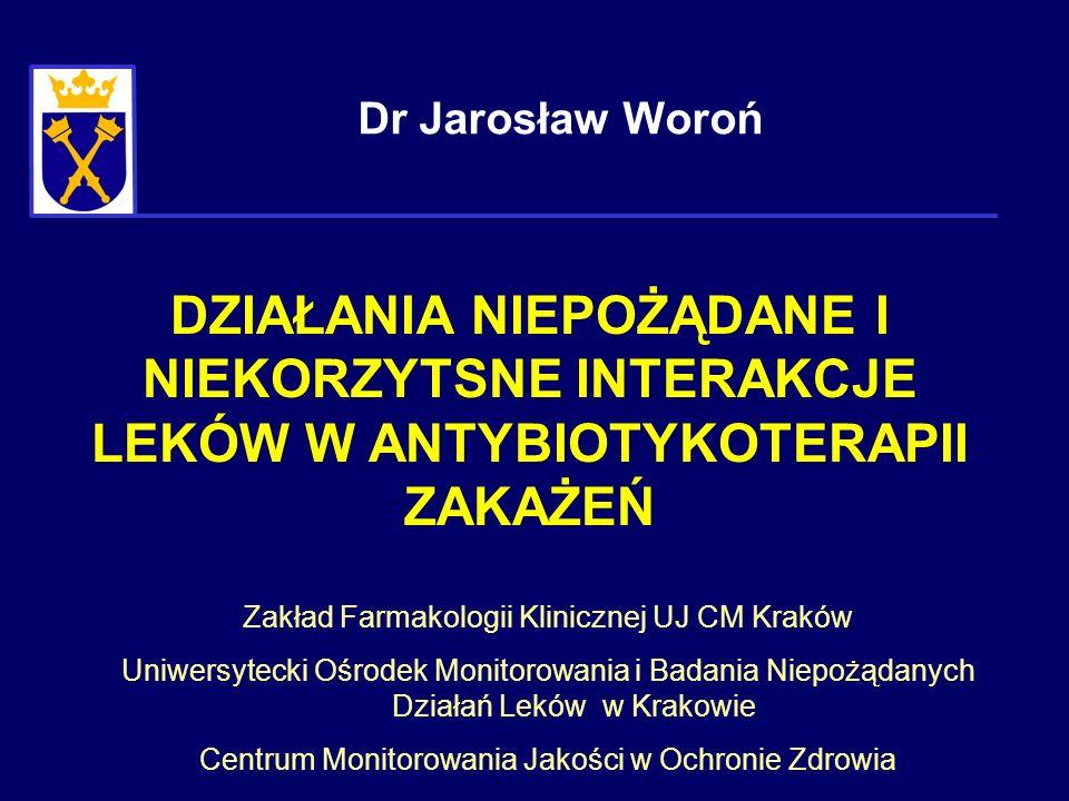 DZIAŁANIA NIEPOŻĄDANE I NIEKORZYTSNE INTERAKCJE LEKÓW W ANTYBIOTYKOTERAPII ZAKAŻEŃ Dr Jarosław Woroń Zakład Farmakologii Klinicznej UJ CM Kraków Uniwe