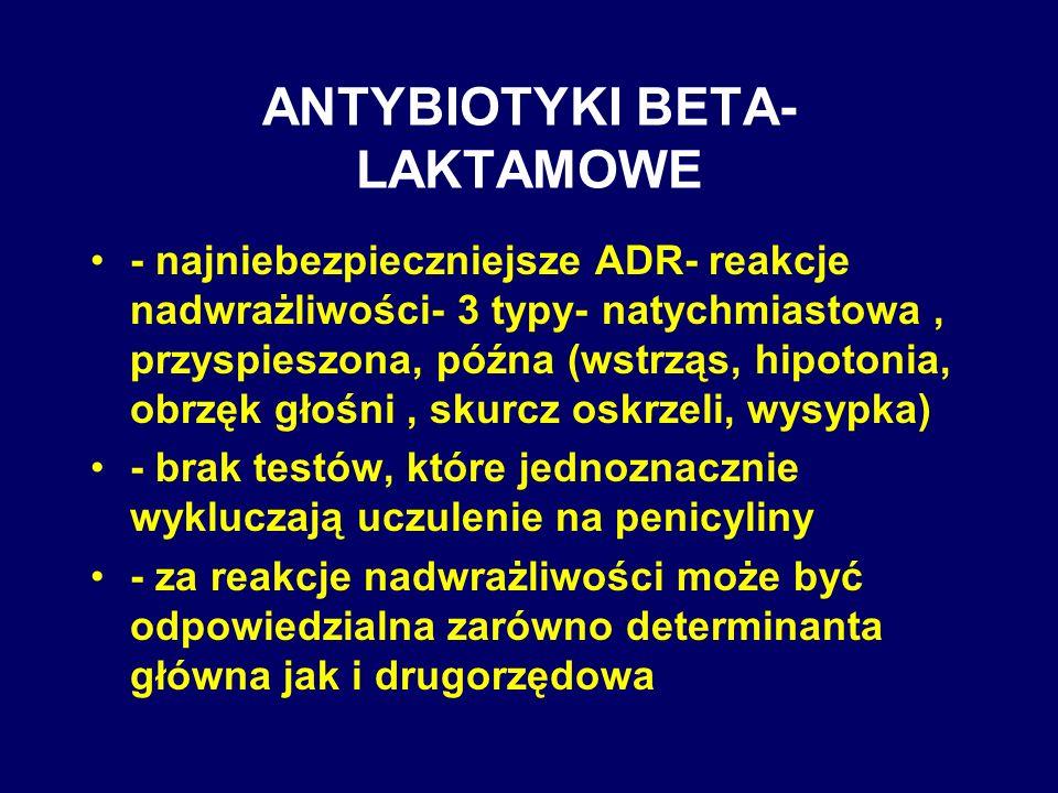 ANTYBIOTYKI BETA- LAKTAMOWE - najniebezpieczniejsze ADR- reakcje nadwrażliwości- 3 typy- natychmiastowa, przyspieszona, późna (wstrząs, hipotonia, obr