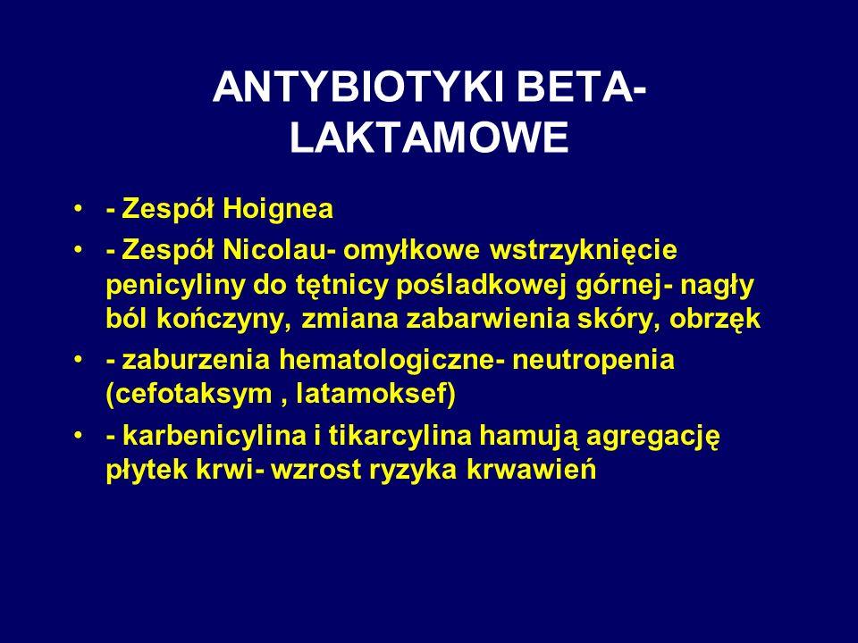 ANTYBIOTYKI BETA- LAKTAMOWE - Zespół Hoignea - Zespół Nicolau- omyłkowe wstrzyknięcie penicyliny do tętnicy pośladkowej górnej- nagły ból kończyny, zm