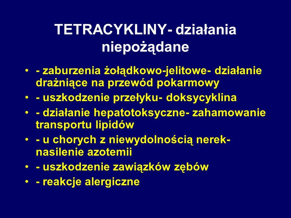TETRACYKLINY- działania niepożądane - zaburzenia żołądkowo-jelitowe- działanie drażniące na przewód pokarmowy - uszkodzenie przełyku- doksycyklina - d