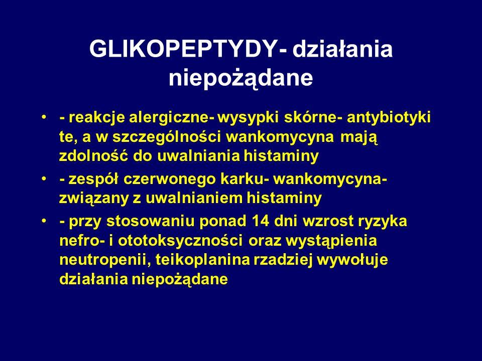 GLIKOPEPTYDY- działania niepożądane - reakcje alergiczne- wysypki skórne- antybiotyki te, a w szczególności wankomycyna mają zdolność do uwalniania hi