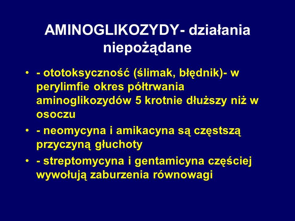 AMINOGLIKOZYDY- działania niepożądane - ototoksyczność (ślimak, błędnik)- w perylimfie okres półtrwania aminoglikozydów 5 krotnie dłuższy niż w osoczu