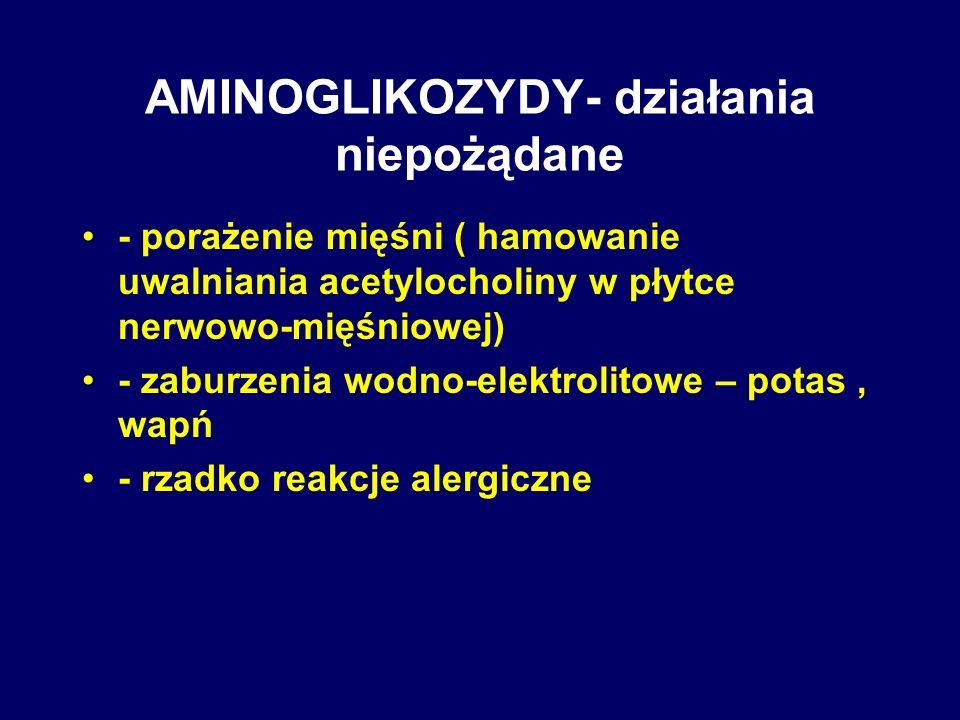 AMINOGLIKOZYDY- działania niepożądane - porażenie mięśni ( hamowanie uwalniania acetylocholiny w płytce nerwowo-mięśniowej) - zaburzenia wodno-elektro
