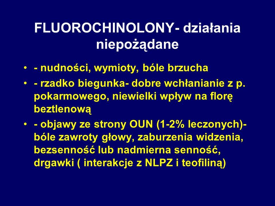 FLUOROCHINOLONY- działania niepożądane - nudności, wymioty, bóle brzucha - rzadko biegunka- dobre wchłanianie z p. pokarmowego, niewielki wpływ na flo