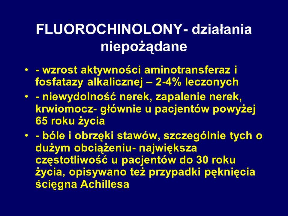 FLUOROCHINOLONY- działania niepożądane - wzrost aktywności aminotransferaz i fosfatazy alkalicznej – 2-4% leczonych - niewydolność nerek, zapalenie ne