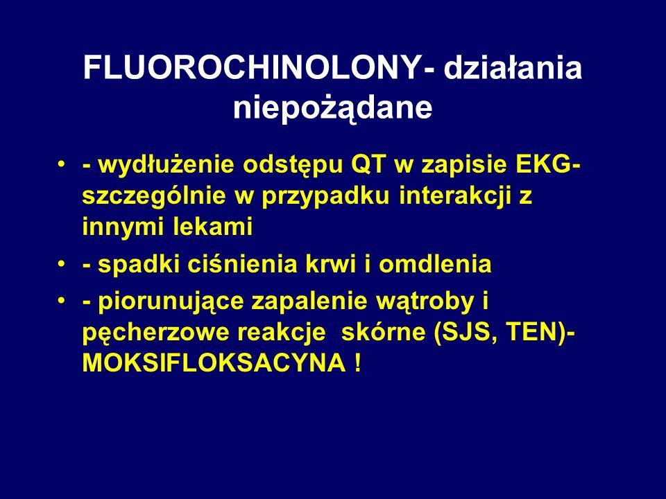 FLUOROCHINOLONY- działania niepożądane - wydłużenie odstępu QT w zapisie EKG- szczególnie w przypadku interakcji z innymi lekami - spadki ciśnienia kr