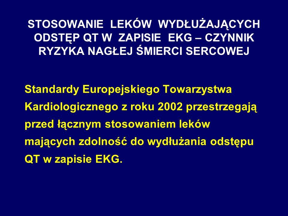 STOSOWANIE LEKÓW WYDŁUŻAJĄCYCH ODSTĘP QT W ZAPISIE EKG – CZYNNIK RYZYKA NAGŁEJ ŚMIERCI SERCOWEJ Standardy Europejskiego Towarzystwa Kardiologicznego z