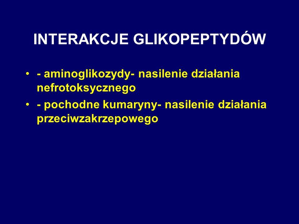 INTERAKCJE GLIKOPEPTYDÓW - aminoglikozydy- nasilenie działania nefrotoksycznego - pochodne kumaryny- nasilenie działania przeciwzakrzepowego