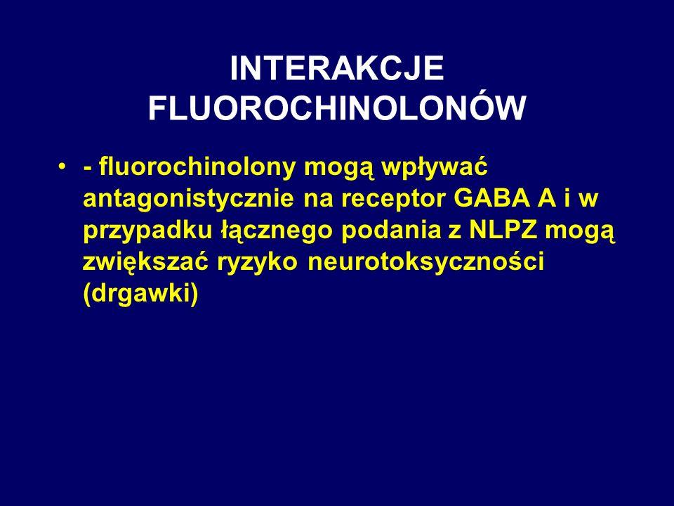 INTERAKCJE FLUOROCHINOLONÓW - fluorochinolony mogą wpływać antagonistycznie na receptor GABA A i w przypadku łącznego podania z NLPZ mogą zwiększać ry