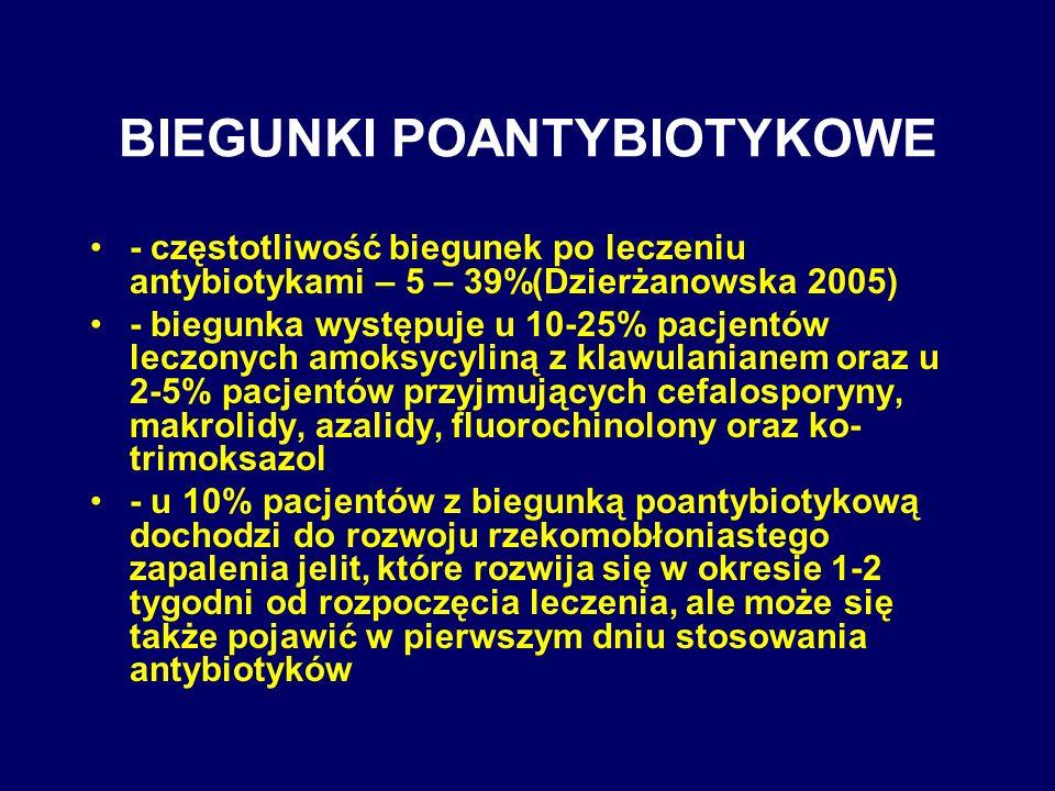 BIEGUNKI POANTYBIOTYKOWE - częstotliwość biegunek po leczeniu antybiotykami – 5 – 39%(Dzierżanowska 2005) - biegunka występuje u 10-25% pacjentów lecz
