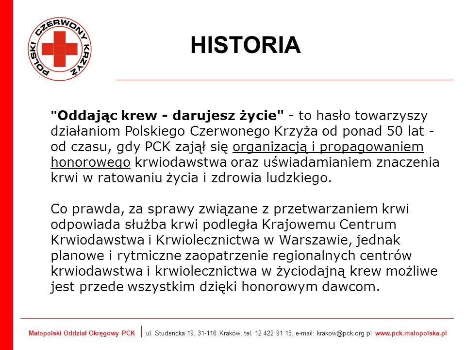 Małopolski Oddział Okręgowy PCK ul. Studencka 19, 31-116 Kraków, tel. 12 422 91 15, e-mail: krakow@pck.org pl www.pck.malopolska.pl HISTORIA