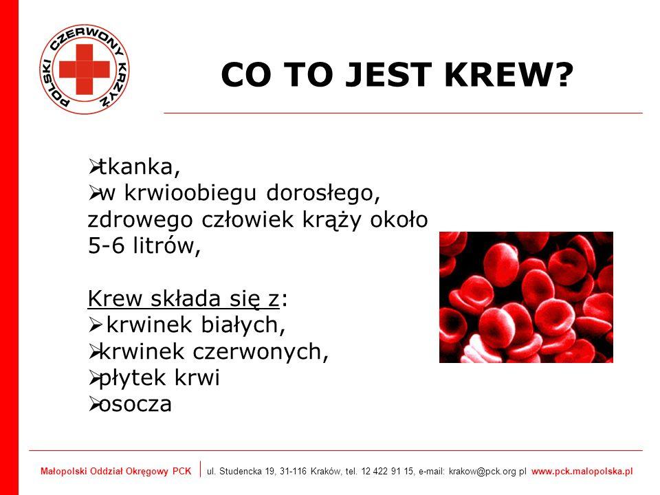 Małopolski Oddział Okręgowy PCK ul. Studencka 19, 31-116 Kraków, tel. 12 422 91 15, e-mail: krakow@pck.org pl www.pck.malopolska.pl CO TO JEST KREW? t