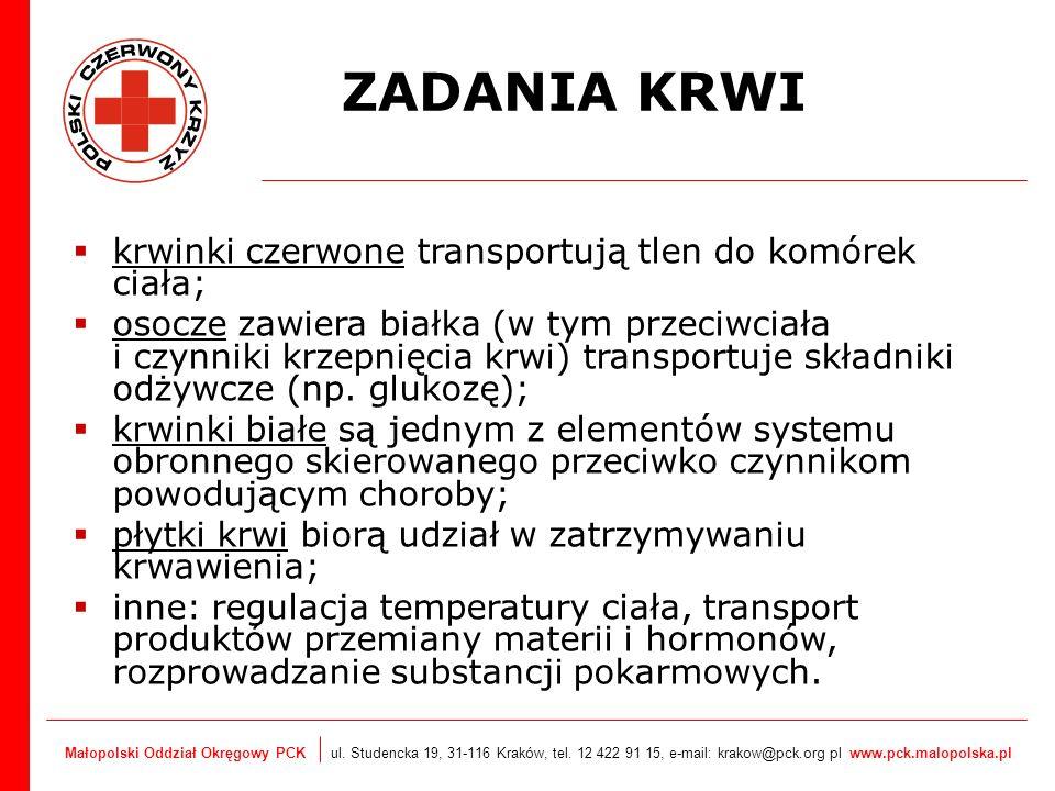 Małopolski Oddział Okręgowy PCK ul. Studencka 19, 31-116 Kraków, tel. 12 422 91 15, e-mail: krakow@pck.org pl www.pck.malopolska.pl krwinki czerwone t