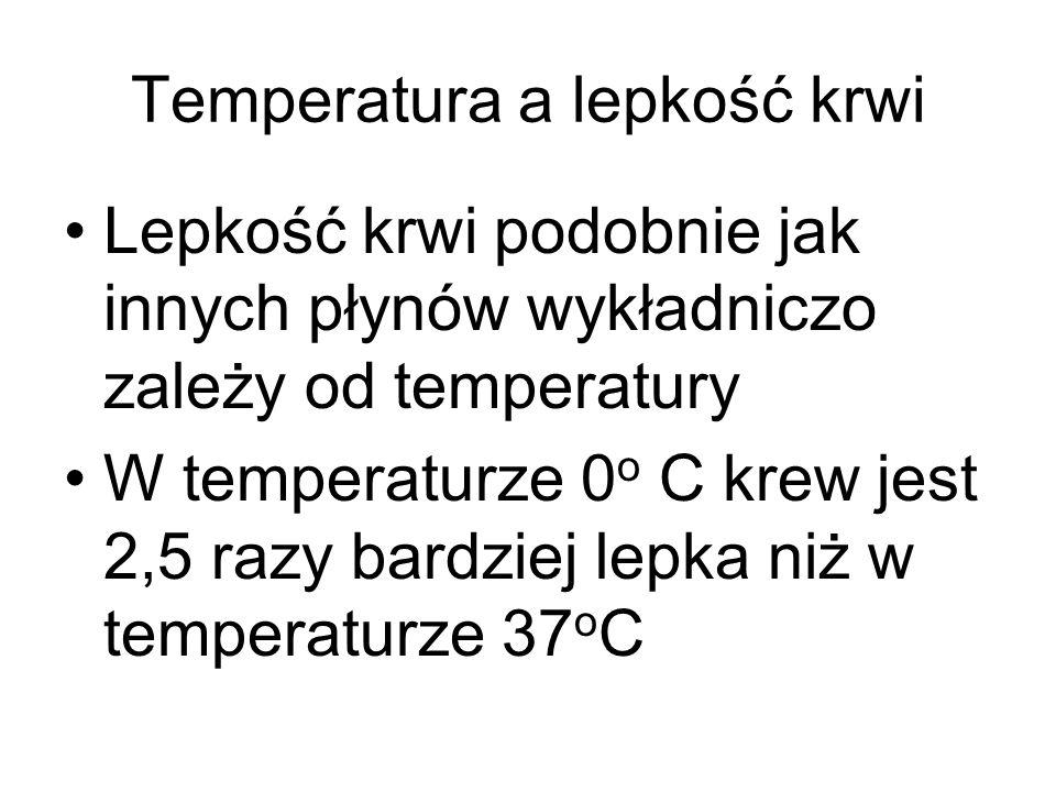 Temperatura a lepkość krwi Lepkość krwi podobnie jak innych płynów wykładniczo zależy od temperatury W temperaturze 0 o C krew jest 2,5 razy bardziej