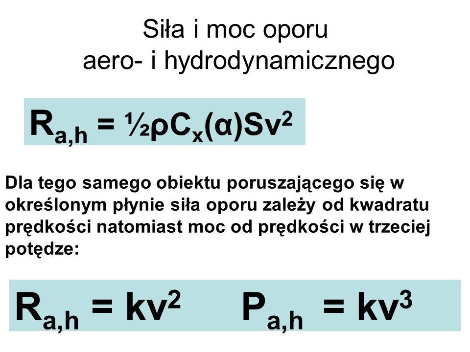 Siła i moc oporu aero- i hydrodynamicznego R a,h = ½ρC x (α)Sv 2 Dla tego samego obiektu poruszającego się w określonym płynie siła oporu zależy od kw