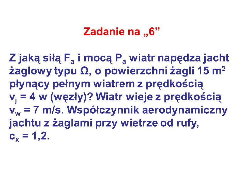 Zadanie na 6 Z jaką siłą F a i mocą P a wiatr napędza jacht żaglowy typu Ω, o powierzchni żagli 15 m 2 płynący pełnym wiatrem z prędkością v j = 4 w (