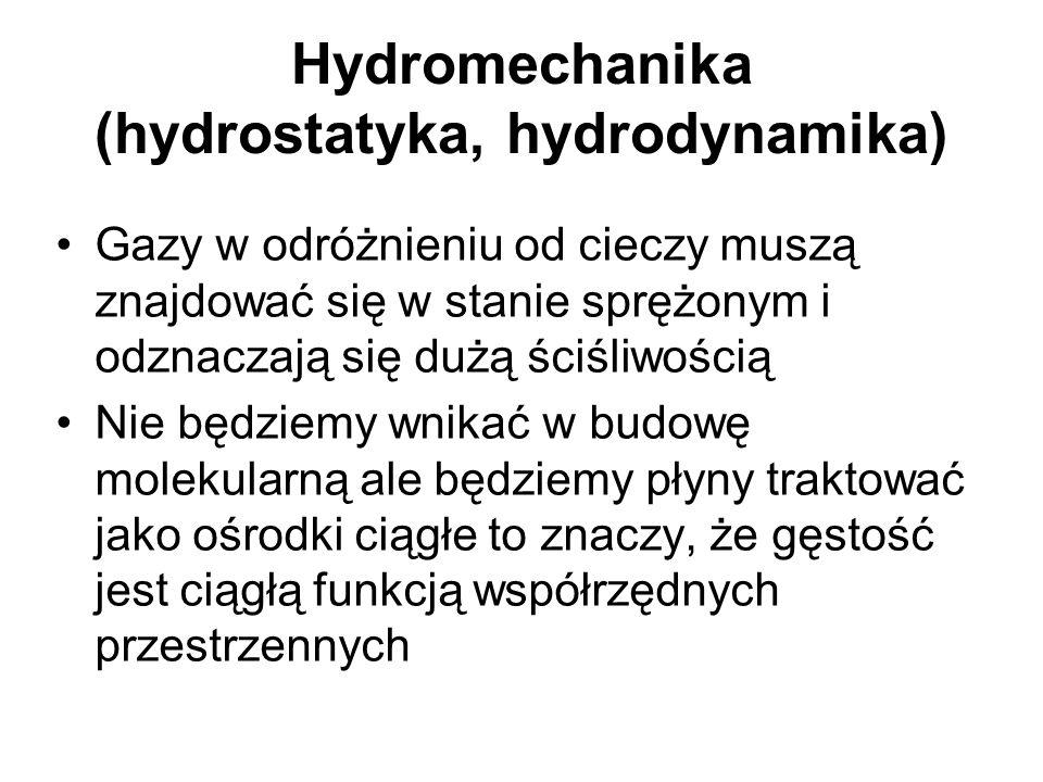 Hydromechanika (hydrostatyka, hydrodynamika) Gazy w odróżnieniu od cieczy muszą znajdować się w stanie sprężonym i odznaczają się dużą ściśliwością Ni