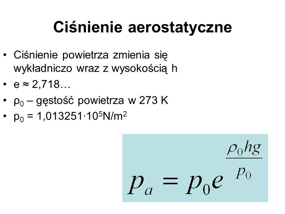 Ciśnienie aerostatyczne Ciśnienie powietrza zmienia się wykładniczo wraz z wysokością h e 2,718… ρ 0 – gęstość powietrza w 273 K p 0 = 1,013251·10 5 N
