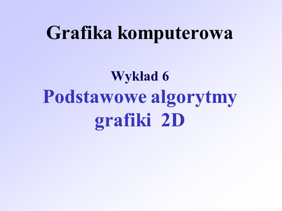 Grafika komputerowa Wykład 6 Podstawowe algorytmy grafiki 2D