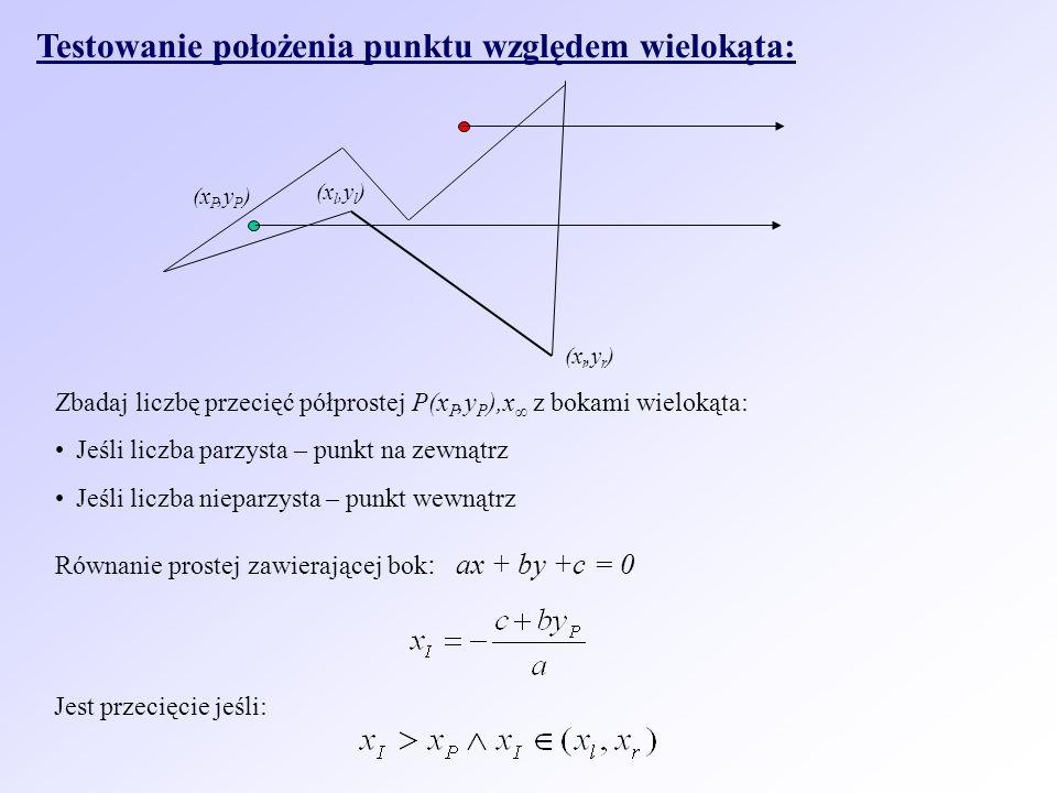 Testowanie położenia punktu względem wielokąta: Zbadaj liczbę przecięć półprostej P(x P,y P ),x z bokami wielokąta: Jeśli liczba parzysta – punkt na zewnątrz Jeśli liczba nieparzysta – punkt wewnątrz Równanie prostej zawierającej bok : ax + by +c = 0 Jest przecięcie jeśli: (x r,y r ) (x l,y l ) (x P,y P )