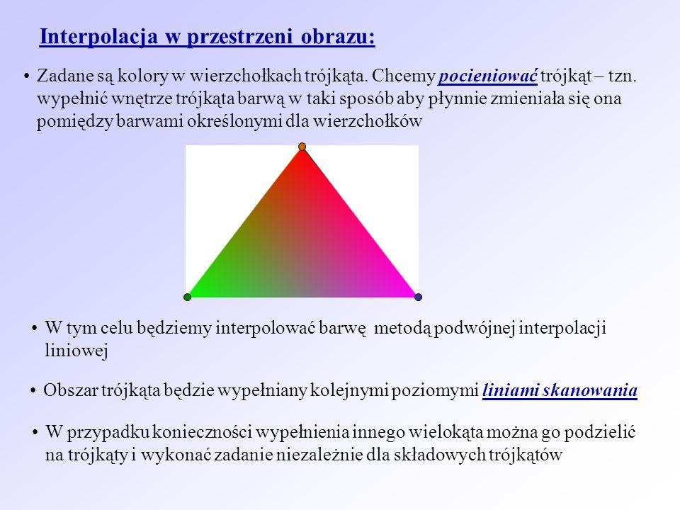 Interpolacja w przestrzeni obrazu: Zadane są kolory w wierzchołkach trójkąta. Chcemy pocieniować trójkąt – tzn. wypełnić wnętrze trójkąta barwą w taki
