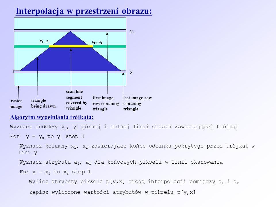 Interpolacja w przestrzeni obrazu: first image row containig triangle scan line segment covered by triangle yuyu ylyl raster image triangle being drawn last image row containig triangle Algorytm wypełniania trójkąta: Wyznacz indeksy y u, y l górnej i dolnej linii obrazu zawierającej trójkąt For y = y u to y l step 1 Wyznacz kolumny x l, x r zawierające końce odcinka pokrytego przez trójkąt w lini y Wyznacz atrybutu a l, a r dla końcowych pikseli w linii skanowania For x = x l to x r step 1 Wylicz atrybuty piksela p[y,x] drogą interpolacji pomiędzy a l i a r Zapisz wyliczone wartości atrybutów w pikselu p[y,x] x l, a l x r, a r