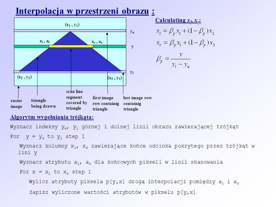 Interpolacja w przestrzeni obrazu : first image row containig triangle scan line segment covered by triangle yuyu ylyl raster image triangle being drawn last image row containig triangle x l, a l x r, a r Calculating x l, x r : y (x 2, y 2 ) (x 1, y 1 ) (x 3, y 3 ) Algorytm wypełniania trójkąta: Wyznacz indeksy y u, y l górnej i dolnej linii obrazu zawierającej trójkąt For y = y u to y l step 1 Wyznacz kolumny x l, x r zawierające końce odcinka pokrytego przez trójkąt w lini y Wyznacz atrybutu a l, a r dla końcowych pikseli w linii skanowania For x = x l to x r step 1 Wylicz atrybuty piksela p[y,x] drogą interpolacji pomiędzy a l i a r Zapisz wyliczone wartości atrybutów w pikselu p[y,x]