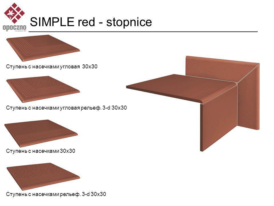 SIMPLE red - stopnice Ступень с насечками угловая 30x30 Ступень с насечками угловая рельеф.