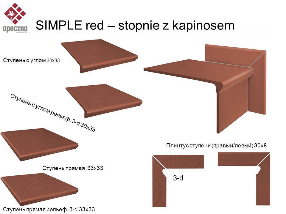 SIMPLE red – stopnie z kapinosem Ступень с углом 30x33 Ступень с углом рельеф.