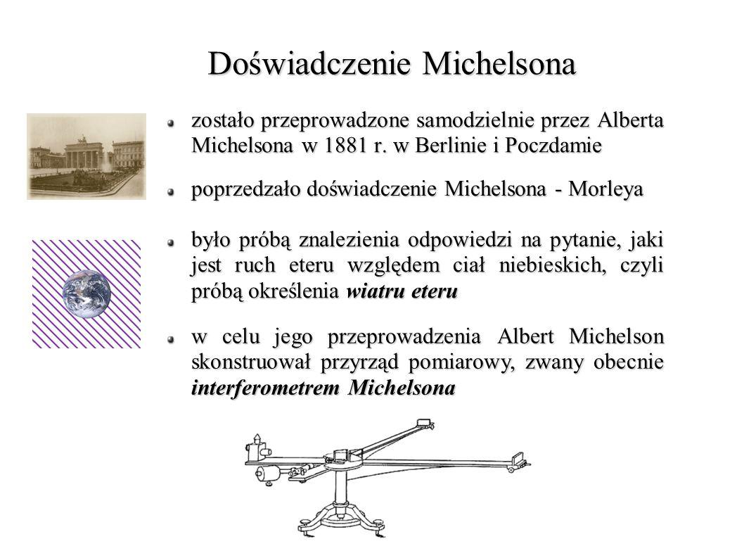 Interferometr Michelsona S – źródło światła monochromatycznego P – półprzepuszczalna płytka Z 1, Z 2 - zwierciadła S – źródło światła monochromatycznego P – półprzepuszczalna płytka Z 1, Z 2 - zwierciadła Interferometr 2-wiązkowy, składający się z 2 zwierciadeł Z1, Z2 oraz półprzezroczystej płytki P Światło ze źródła S, padając na posrebrzoną płytkę P, rozdziela się na 2 wiązki Część światła padającego na szkło ulega odbiciu, a reszta jest przepuszczana Natężenie wiązki przechodzącej i odbitej są mniej więcej jednakowe Po kolejnych odbiciach od zwierciadeł dwie wiązki docierają do detektora, którym może być np.