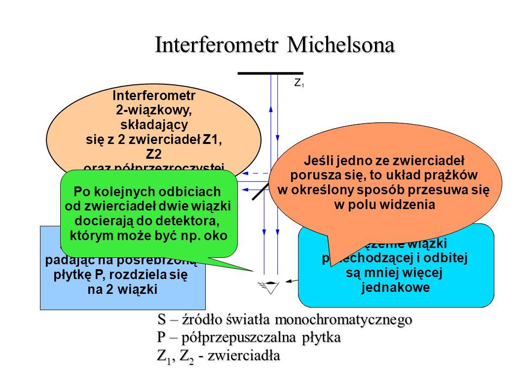 Wyniki i wnioski Michelson nie zaobserwował spodziewanego przesunięcia prążków interferencyjnych, równego 0,04 szerokości pojedynczego prążka uzyskane przesunięcie, będące efektem błędu pomiaru, wynosiło zaledwie 0,02 ówczesny świat nauki podważał wiarygodność uzyskanych przez Michelsona wyników Michelson postanowił powtórzyć swoje doświadczenie, wykorzystując udoskonaloną wersję swojego aparatu prototypowy interferometr Michelsona udowodnił jednak słuszność obranej metody pomiarowej
