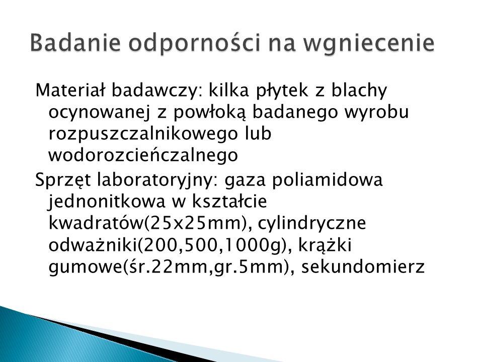Materiał badawczy: kilka płytek z blachy ocynowanej z powłoką badanego wyrobu rozpuszczalnikowego lub wodorozcieńczalnego Sprzęt laboratoryjny: gaza p