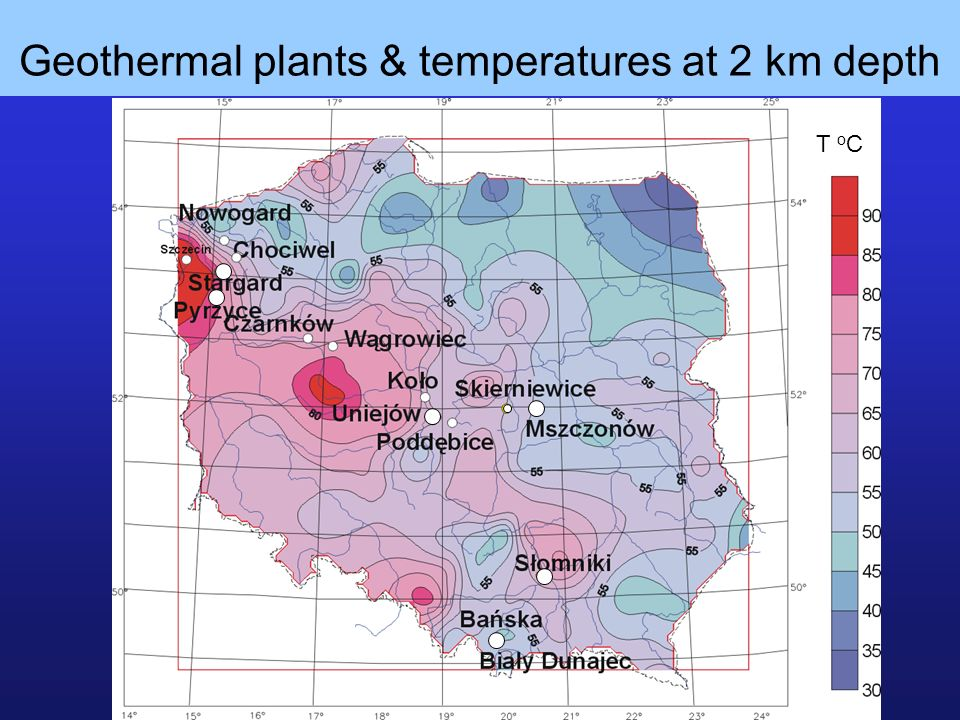 Geothermal plants & temperatures at 2 km depth T o C