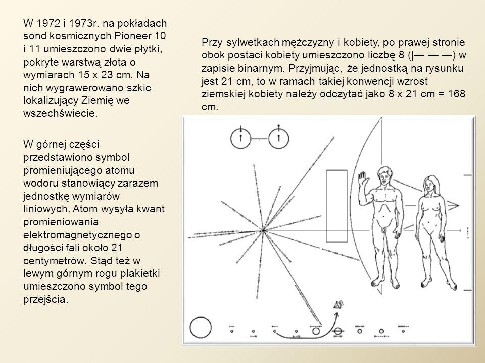 W 1972 i 1973r. na pokładach sond kosmicznych Pioneer 10 i 11 umieszczono dwie płytki, pokryte warstwą złota o wymiarach 15 x 23 cm. Na nich wygrawero
