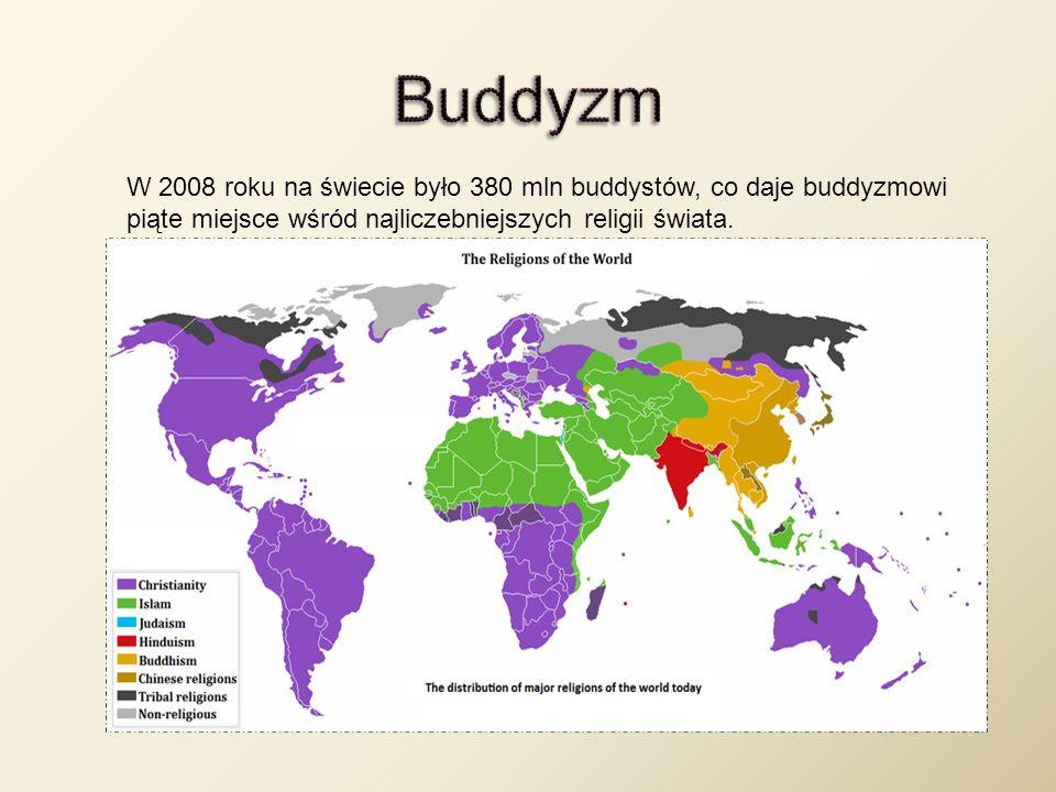 W 2008 roku na świecie było 380 mln buddystów, co daje buddyzmowi piąte miejsce wśród najliczebniejszych religii świata.