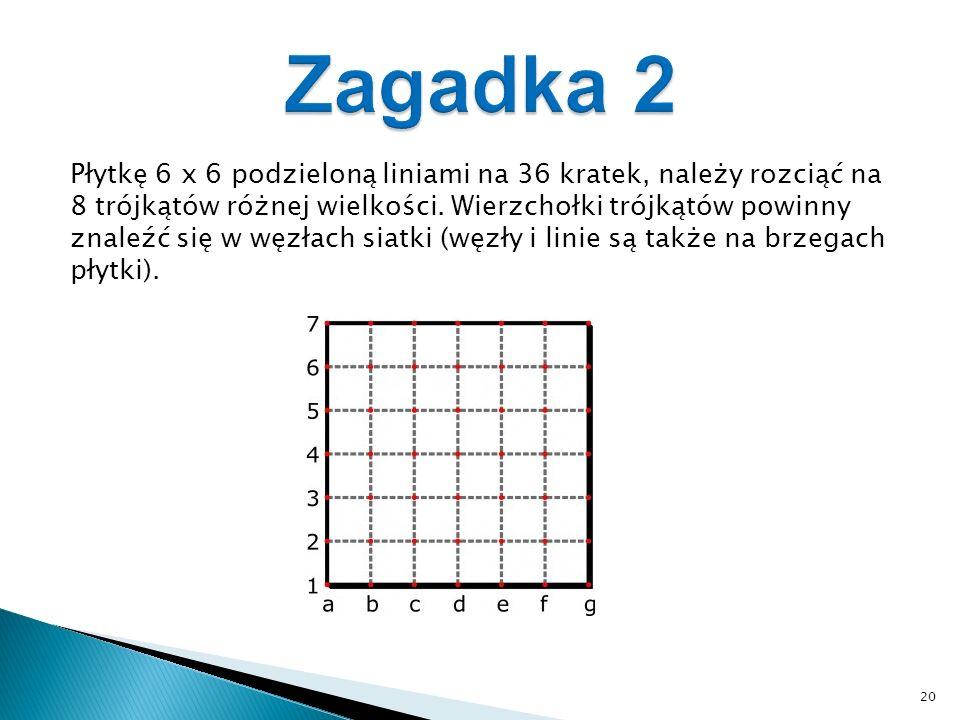 Płytkę 6 x 6 podzieloną liniami na 36 kratek, należy rozciąć na 8 trójkątów różnej wielkości.