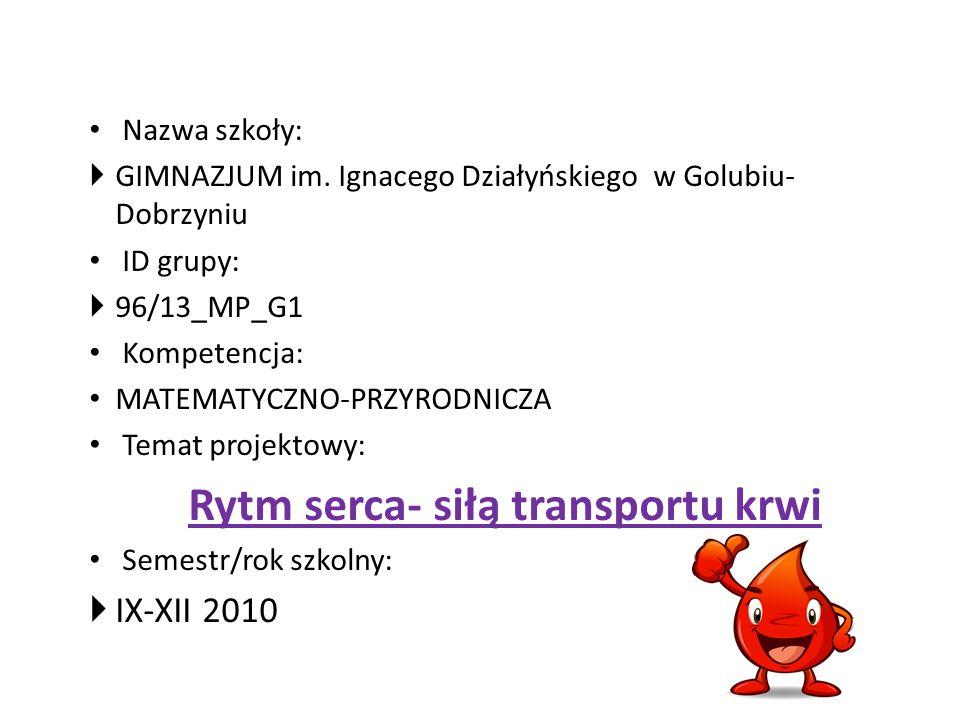Nazwa szkoły: GIMNAZJUM im. Ignacego Działyńskiegow Golubiu- Dobrzyniu ID grupy: 96/13_MP_G1 Kompetencja: MATEMATYCZNO-PRZYRODNICZA Temat projektowy: