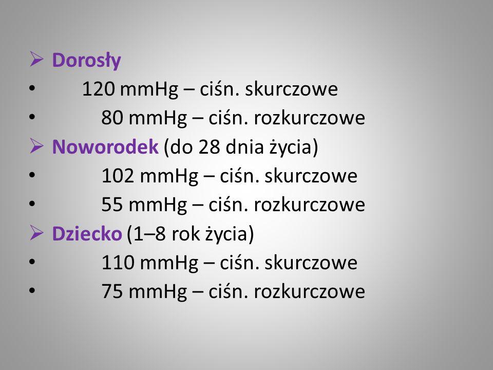Dorosły 120 mmHg – ciśn. skurczowe 80 mmHg – ciśn. rozkurczowe Noworodek (do 28 dnia życia) 102 mmHg – ciśn. skurczowe 55 mmHg – ciśn. rozkurczowe Dzi