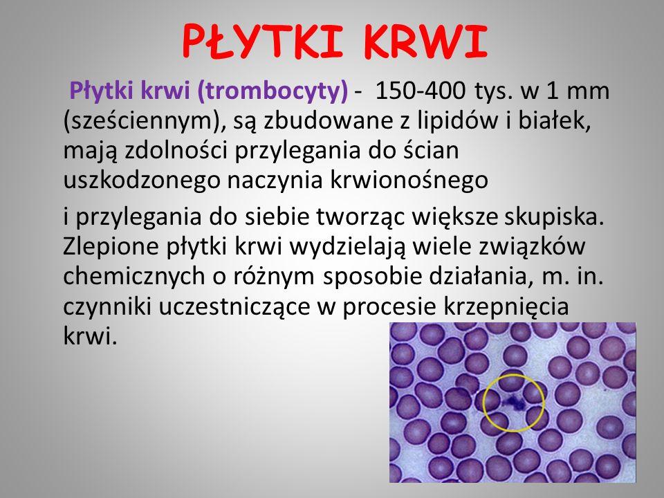 PŁYTKI KRWI Płytki krwi (trombocyty) - 150-400 tys. w 1 mm (sześciennym), są zbudowane z lipidów i białek, mają zdolności przylegania do ścian uszkodz